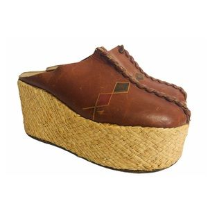 🤩✌️Vtg 70s Platform Clogs Leather Woven Straw 6